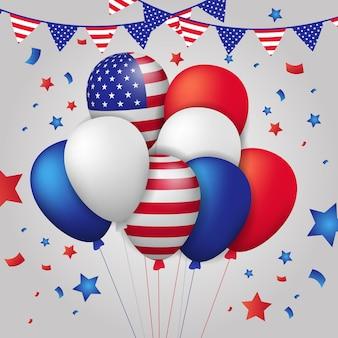 Grupo de balão de hélio voador colorido 3d com bandeira americana de listras
