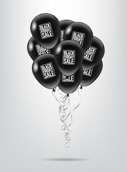 Grupo de balão preto com texto venda de sexta-feira negra em fundo branco