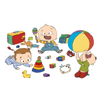 Grupo de bebês brincando no berçário