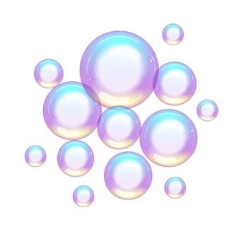 Grupo de bolhas de sabão coloridas pequenas e grandes