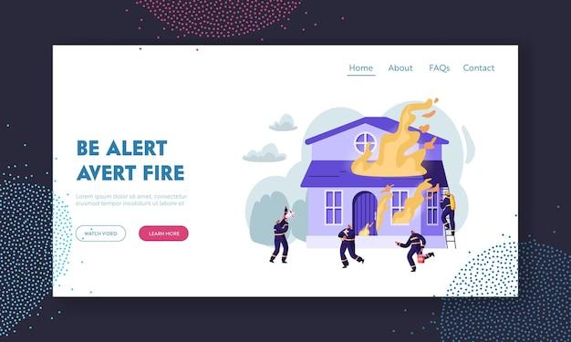 Grupo de bombeiros lutando com blaze em burning house. equipe extinguindo grande incêndio, chorando para o megafone, carregue a página de destino do site do cão de economia de água, página da web ilustração em vetor plana dos desenhos animados