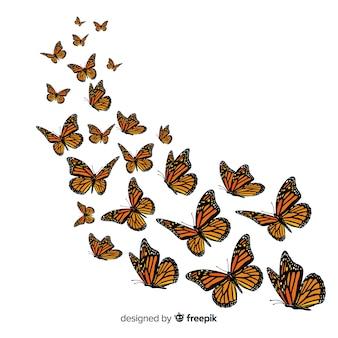 Grupo de borboletas voando fundo