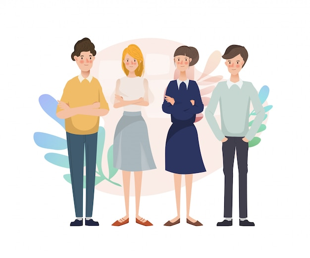 Grupo de brainstorming de caráter de pessoas jovens empresários em equipe.