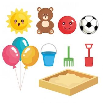 Grupo de brinquedos coleção definida