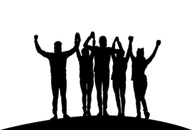 Grupo, de, businesspeople, segurando, levantado, mãos feliz, sucedido, team, preto, silhuetas