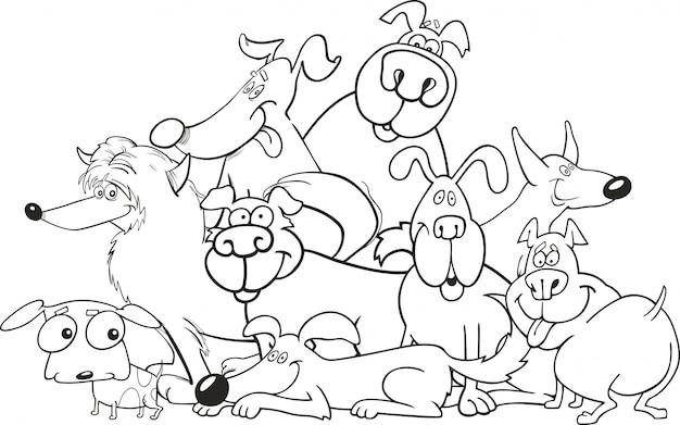 Grupo de cachorros de desenhos animados para livro para colorir