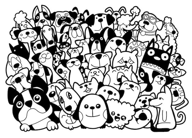 Grupo de cães e gatos de doodle
