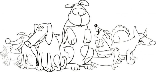 Grupo de cães engraçados para colorir