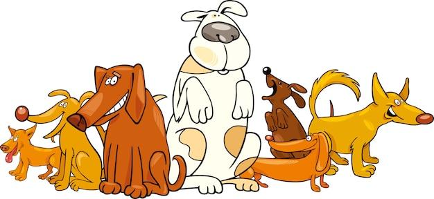 Grupo de cães engraçados