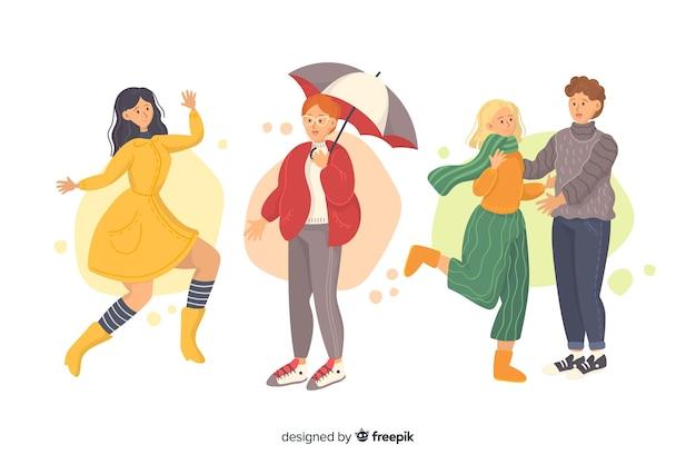 Grupo de caracteres com roupas de outono