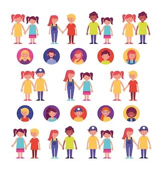 Grupo de caracteres de membros da família