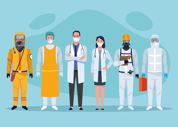 Grupo de caracteres de trabalhadores de saúde pessoal médico
