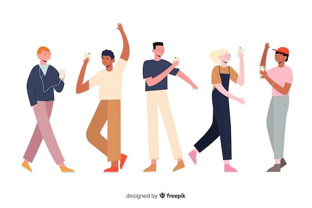 Grupo de caracteres, segurando a ilustração do telefone