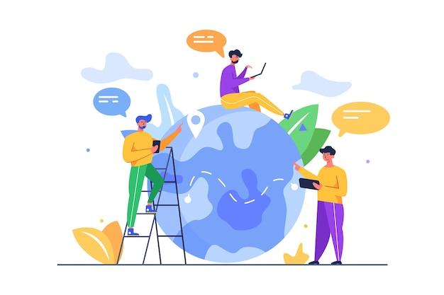 Grupo de caras com dispositivos móveis explorando o mundo e conteúdo no globo isolado em um fundo branco, plano