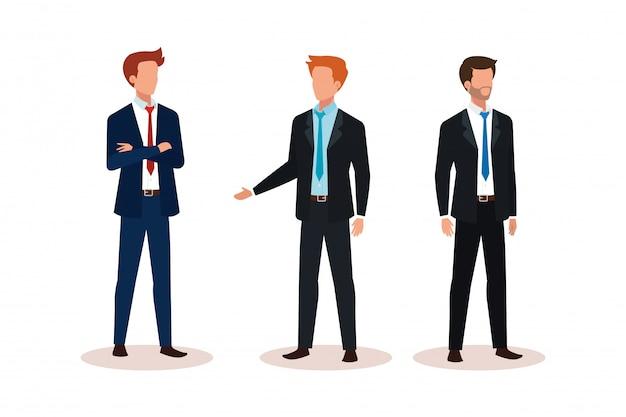 Grupo de caráter de avatar de empresários