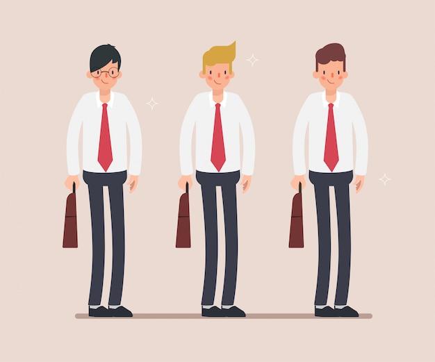 Grupo de caráter de empresário em pé.