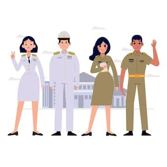 Grupo de caráter de oficiais do governo tailandês. uniforme de professor tailandês. -