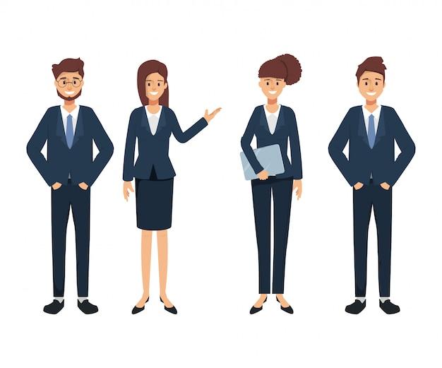 Grupo de caráter de pessoas de negócios. seminário na empresa. trabalho de negócios de trabalho em equipe.