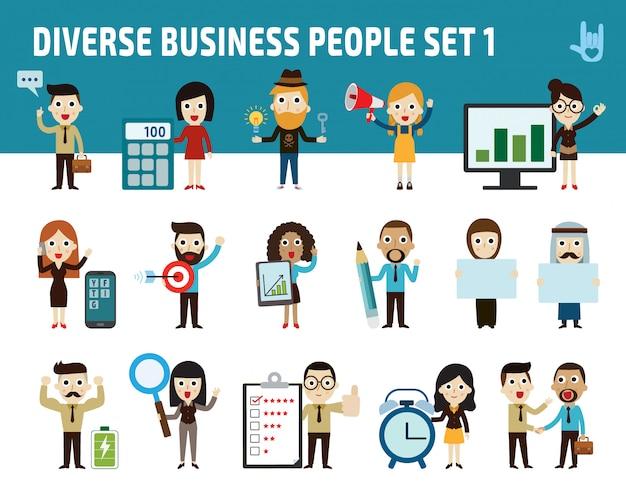Grupo de caráter de pessoas de negócios