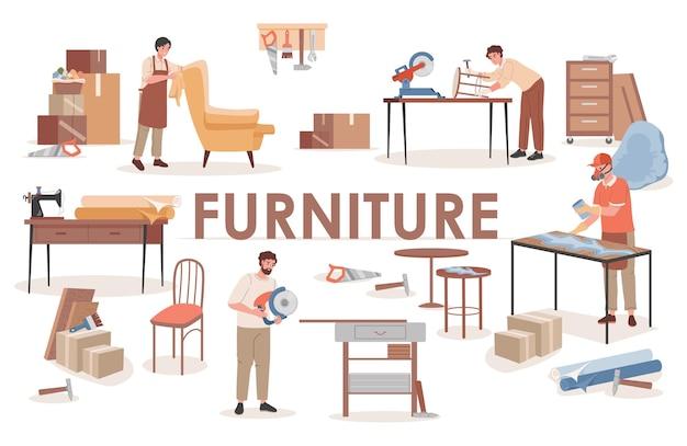 Grupo de carpinteiros em oficina de madeira fazendo móveis