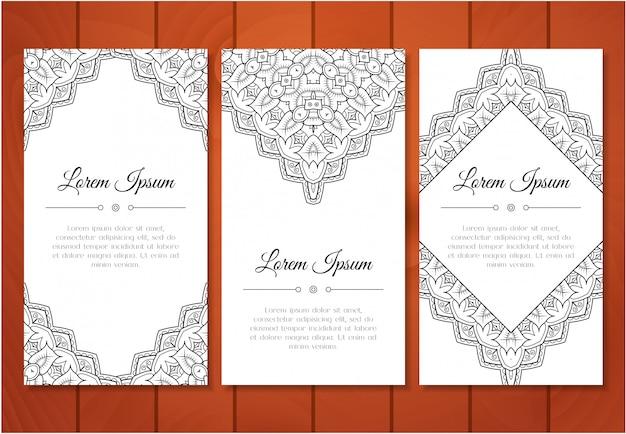 Grupo de cartões bonito do doodle do vintage para o convite ou para o feriado especial. cartão ou salvar a data com padrão monocromático. ilustração vetorial