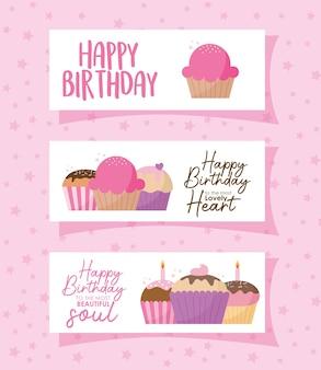 Grupo de cartões com cupcakes e letras de feliz aniversário em um desenho de ilustração rosa