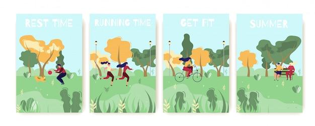 Grupo de cartões liso dos desenhos animados da recreação do verão fora. ficar em forma