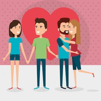 Grupo de casais de amantes com coração
