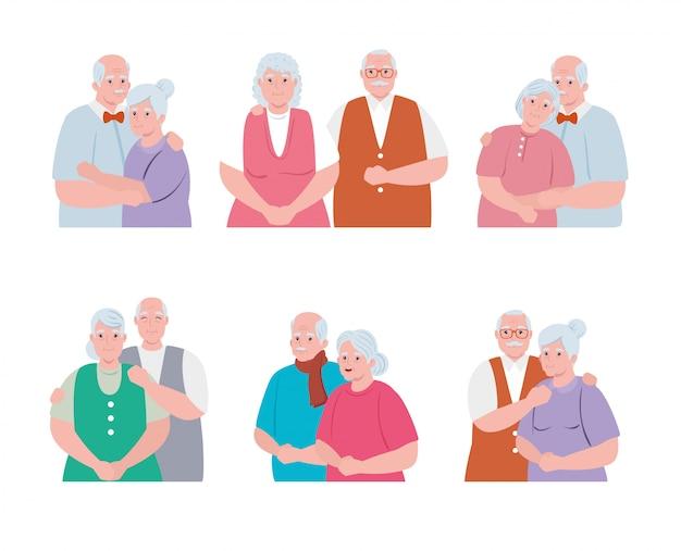 Grupo de casais idosos sorrindo, velhas e velhos casal apaixonado