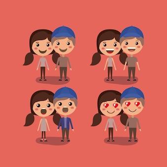 Grupo de casais personagens kawaii