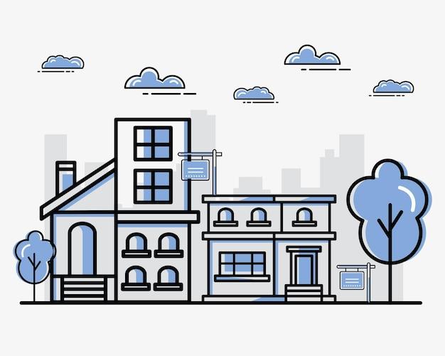 Grupo de casas imobiliárias