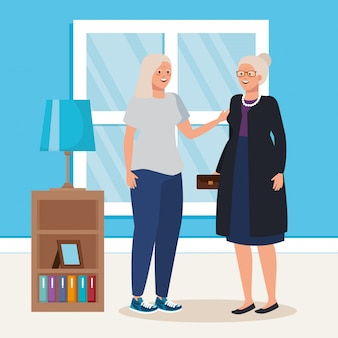Grupo de cena de casa interior de mulheres idosas