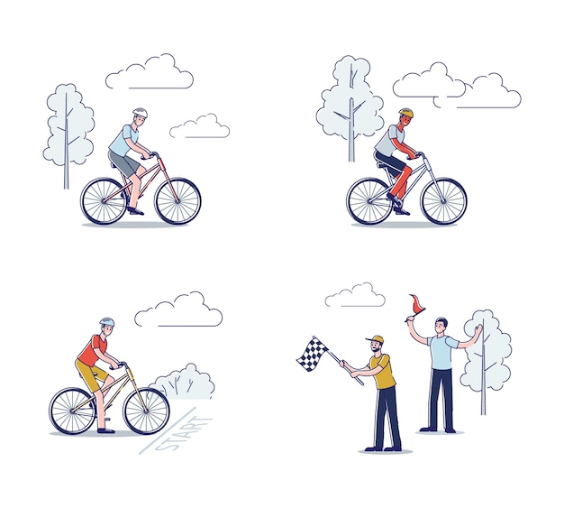 Grupo de ciclistas em bicicletas em competição de corrida de bicicleta