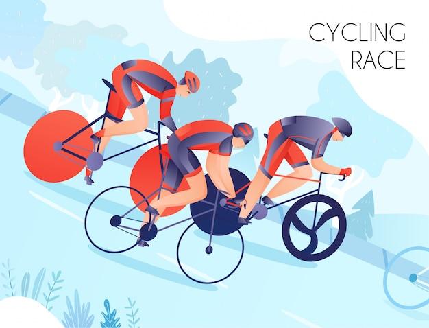 Grupo de ciclistas em esportes brilhantes usam durante a corrida de bicicleta na natureza