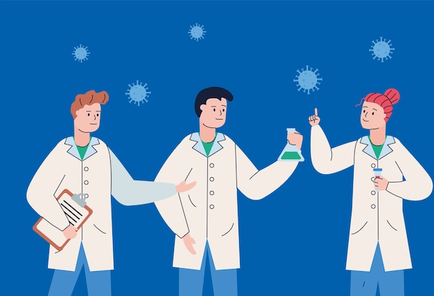 Grupo de cientistas com prancheta e vacina de pesquisa de partículas covid19