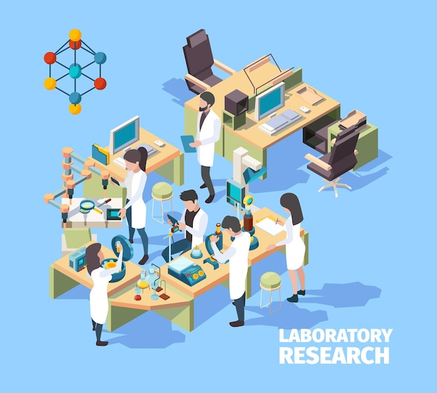 Grupo de cientistas, médicos e enfermeiras trabalhando no laboratório da clínica