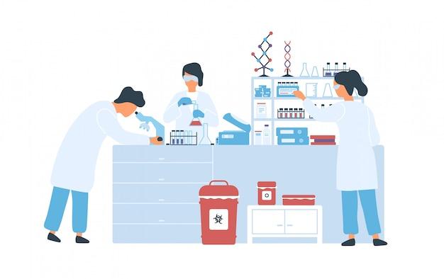 Grupo de cientistas no jaleco branco, trabalhando na ilustração plana do laboratório de ciências. pesquisadores do homem e da mulher que conduzem experiências no laboratório químico isolado no branco. pesquisa científica