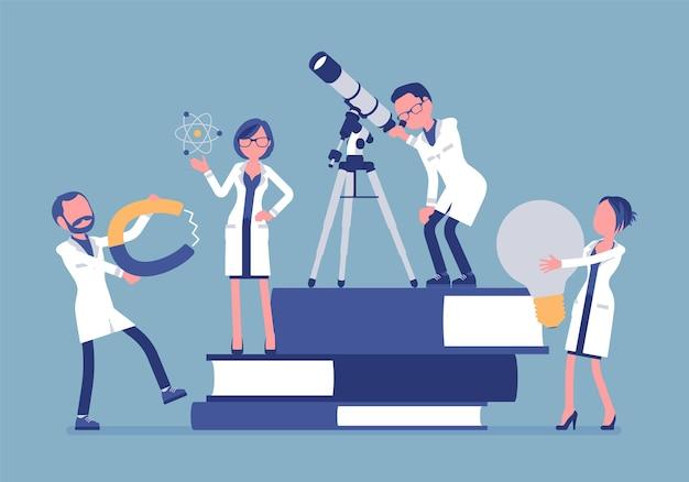 Grupo de cientistas pesquisando com ferramentas perto de livros gigantes