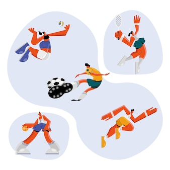 Grupo de cinco atletas praticando esportes ilustração design