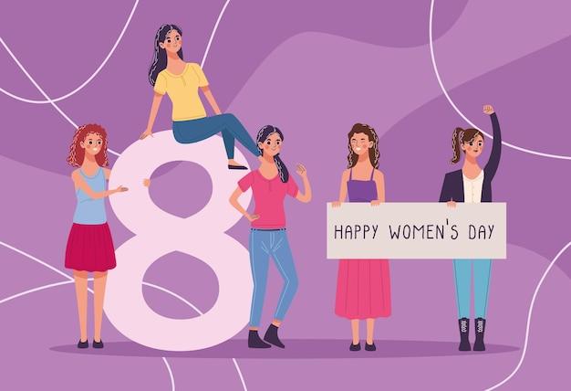 Grupo de cinco belas jovens celebrando a ilustração