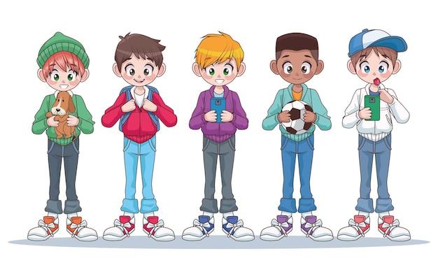 Grupo de cinco jovens adolescentes interraciais meninos crianças personagens ilustração