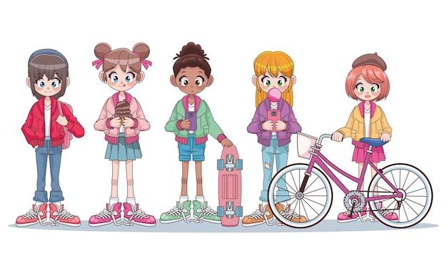 Grupo de cinco lindos adolescentes inter-raciais, meninas, personagens de anime, ilustração