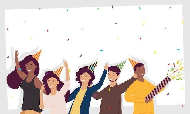 Grupo de cinco pessoas comemorando aniversário com ilustração de personagens