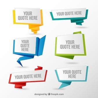 Grupo de citações em estilo origami