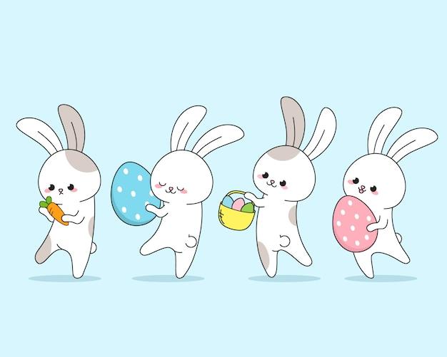 Grupo de coelho fofo feliz na primavera