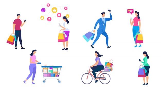 Grupo de compras pessoas isolado no fundo branco.