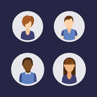 Grupo de comunidade de avatares de pessoas