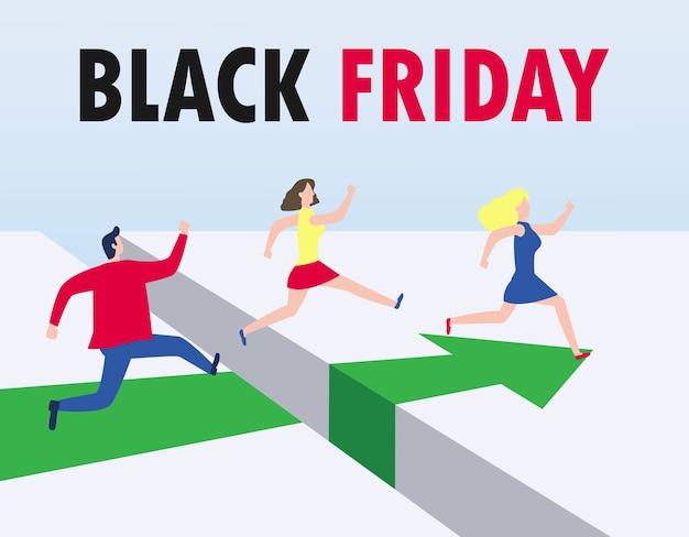 Grupo de conceito de compras de sexta-feira negra de pessoas correndo e pulando a lacuna.