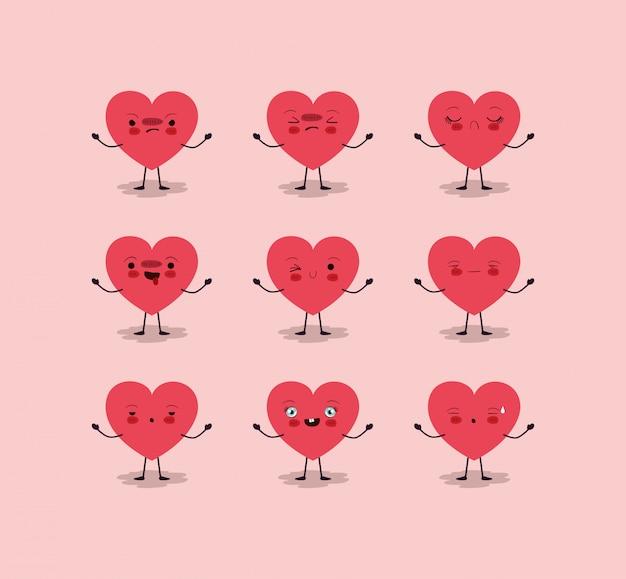 Grupo de corações femininos amam personagens kawaii
