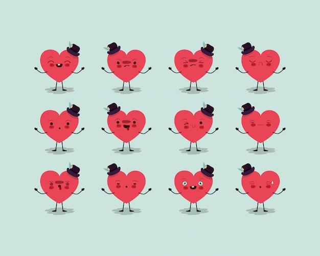 Grupo de corações masculinos amam personagens kawaii